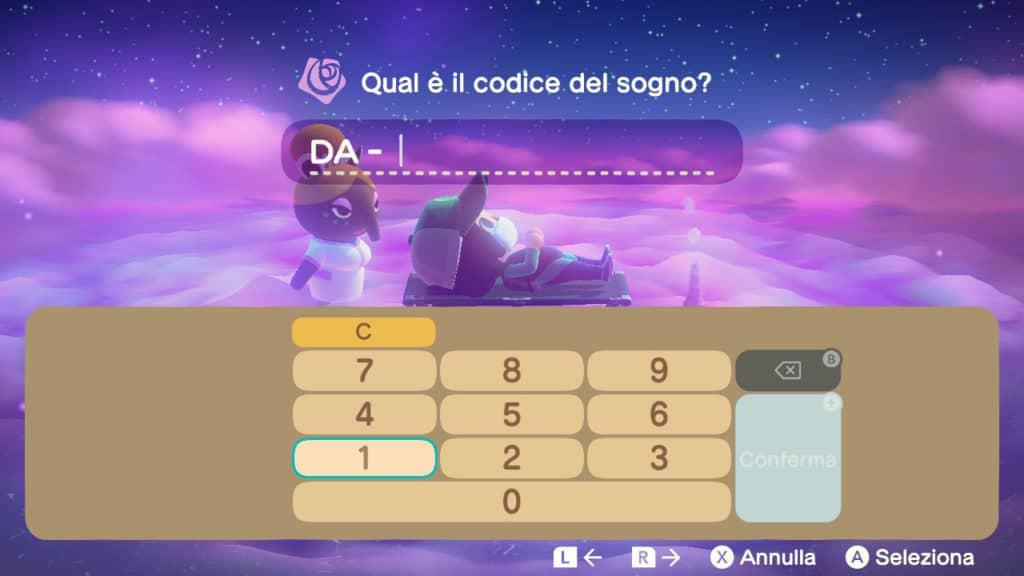 La schermata di digitazione del Codice Sogno