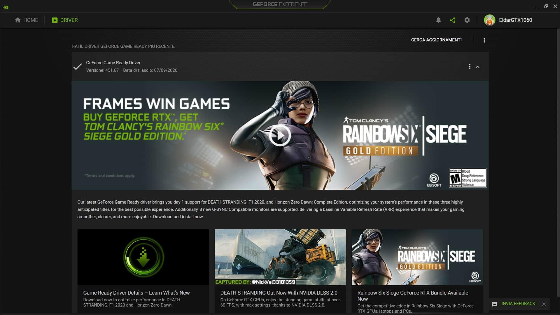 Schermata di NVidia GeForce Experience