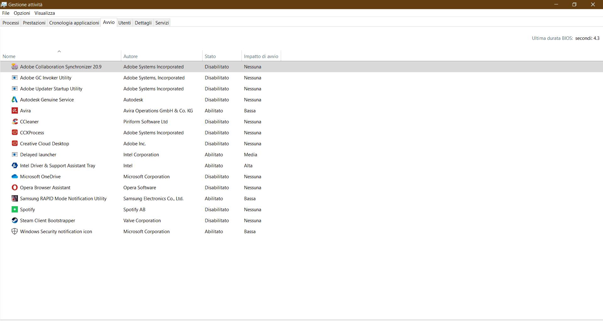 Scheda Gestione attività Windows 10