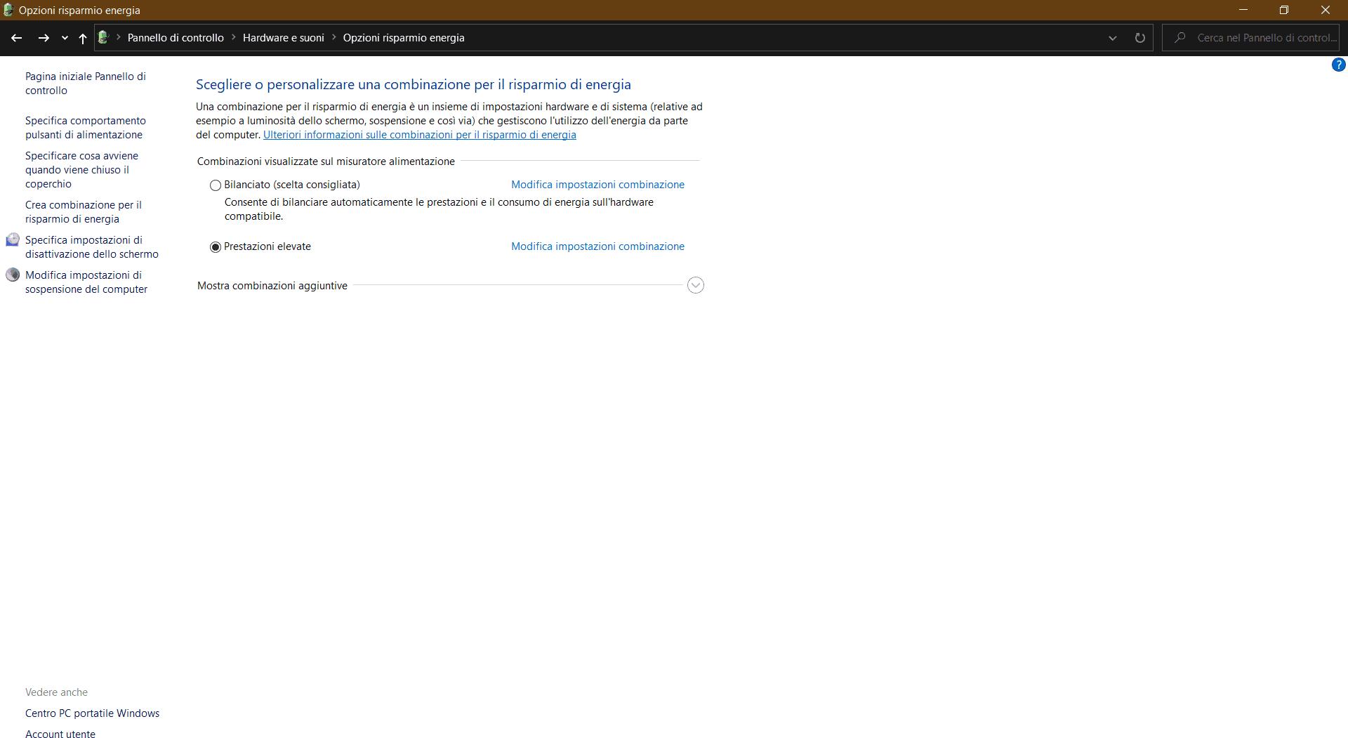 Schermata Opzioni risparmio energia di Windows 10