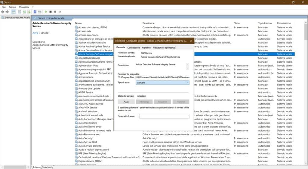 Scheda Servizi Windows 10