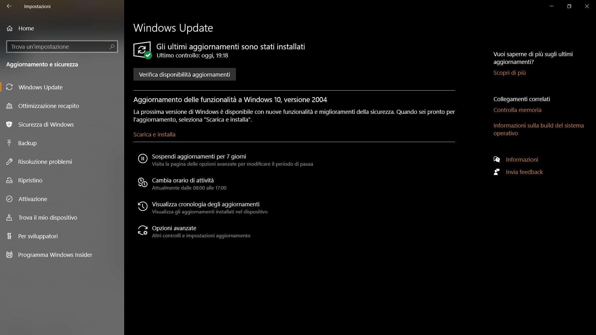 Schermata aggiornamenti Windows 10