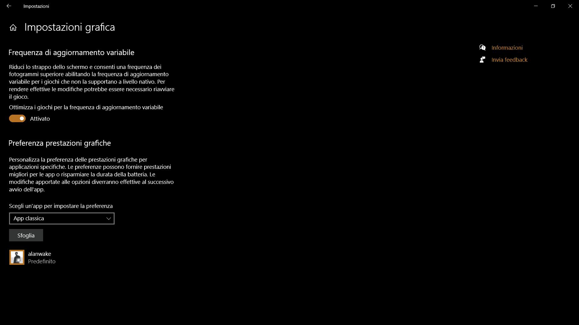 Pannello Impostazioni grafica di Windows 10