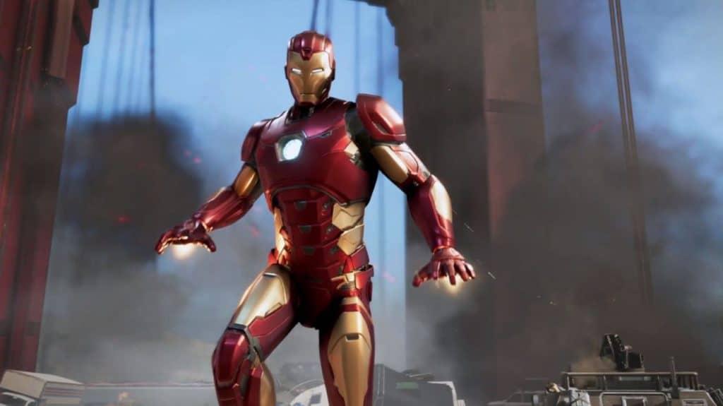 Iron Man è in volo sopra a un ponte che sta cadendo