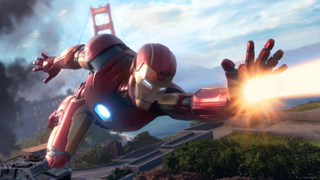 Iron Man sfreccia nel cielo, sparando repulsori dalle mani