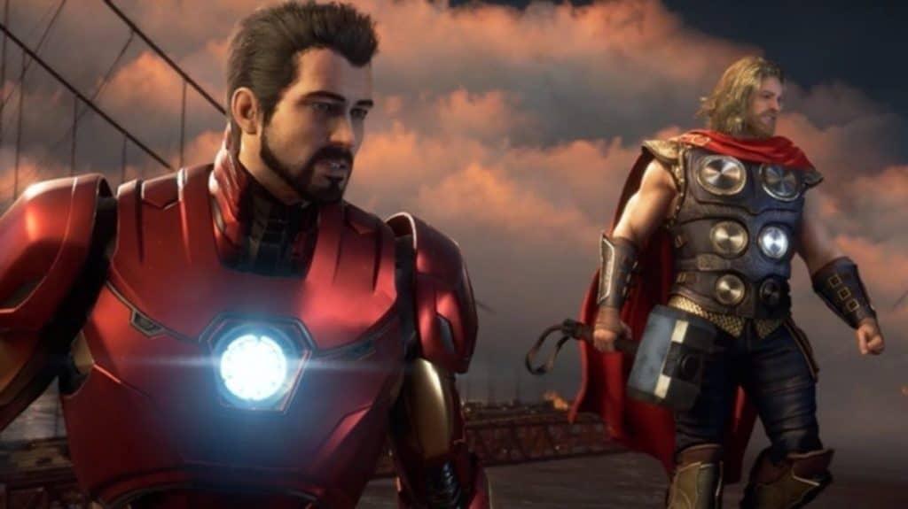 Iron Man e Thor sono senza maschera mentre guardano a qualcosa davanti a loro