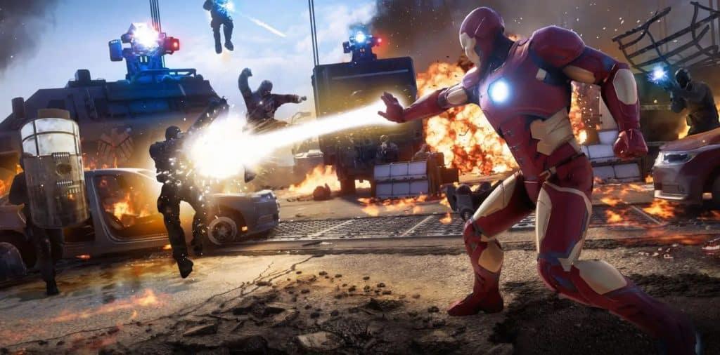 Iron Man combatte diversi nemici nel mezzo di esplosioni e proiettili nemici