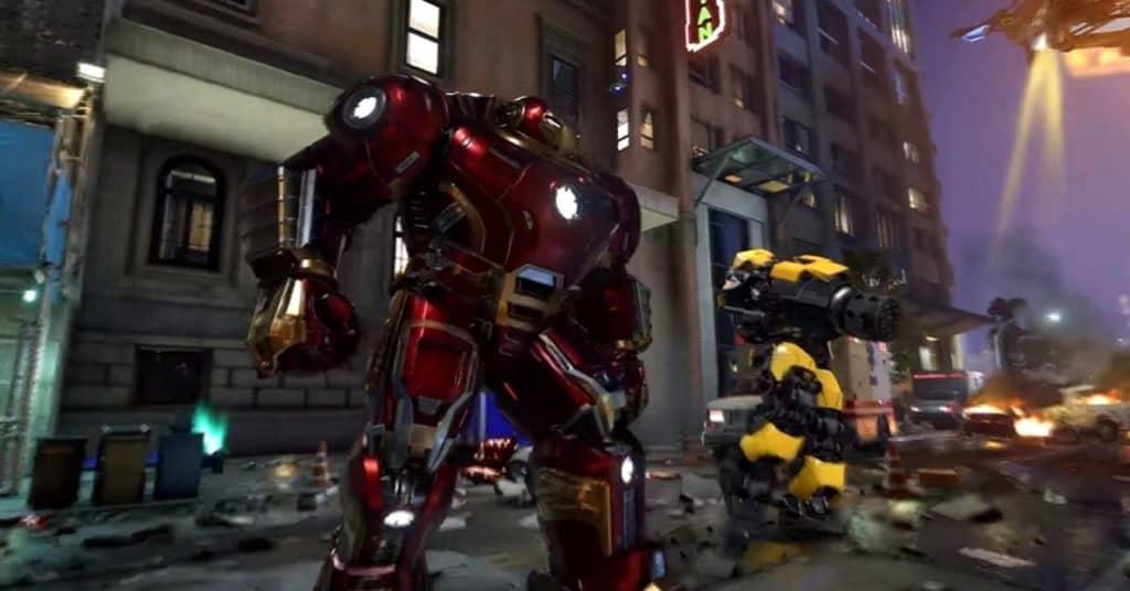Iron Man sta indossando la sua potente armatura Hulkbuster