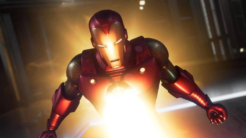 Iron Man spara il suo uniraggio verso la camera