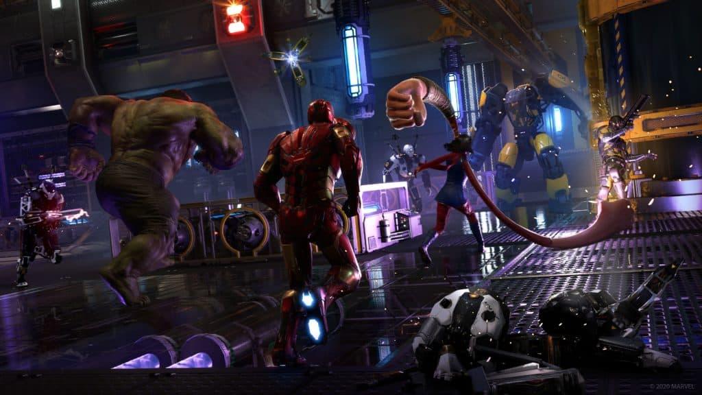 Gli avengers combattono contro dei nemici, e Kamala sferra dei pugni a terra contro i suoi avversari