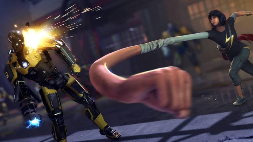 Kamala Khan tira un pugno allungando il suo braccio estensibile