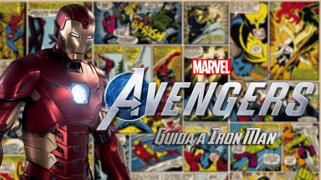 Iron Man si mostra nella sua armatura, con come sfondo tavole dei fumetti Marvel