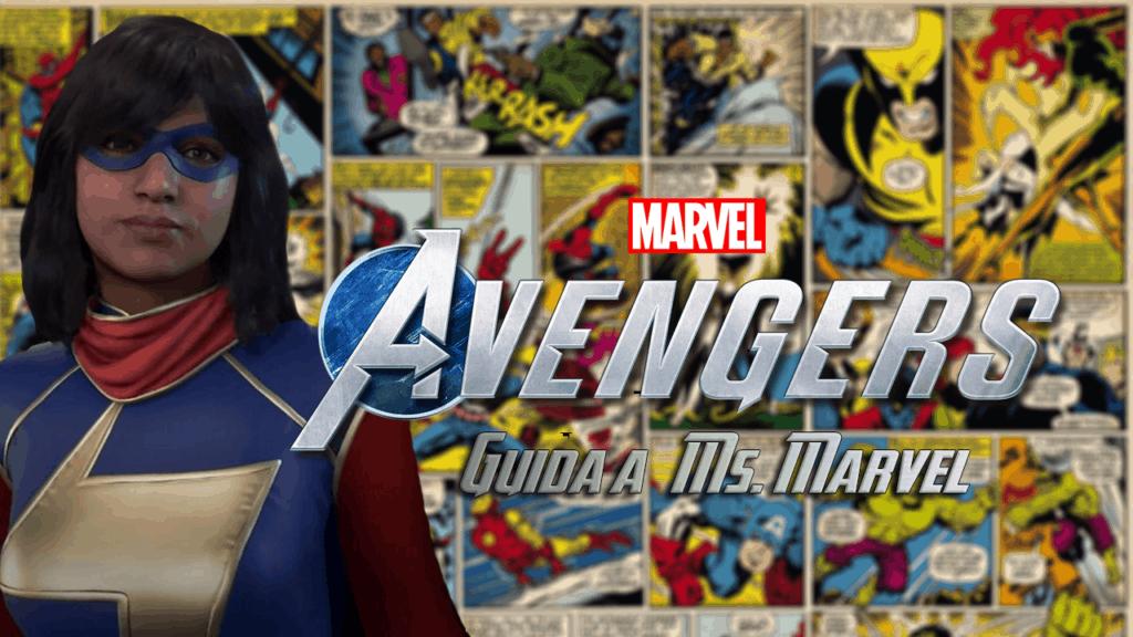 Kamala Khan nelle vesti di Ms. Marvel con diverse tavole dei fumetti Marvel sullo sfondo