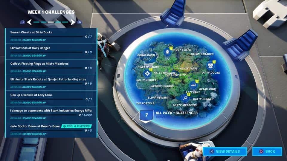La mappa di gioco rappresentata dalla base operativa degli eroi Marvel in Fortnite