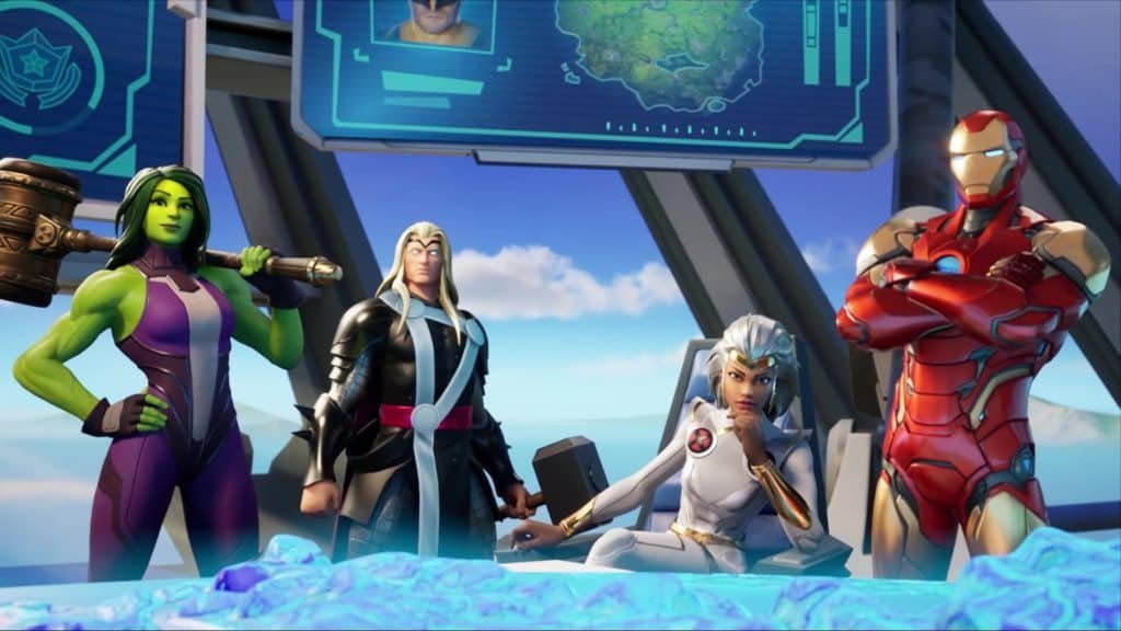 Diversi supereroi della Stagione 4 di Fortnite sono riuniti nella stanza di comando