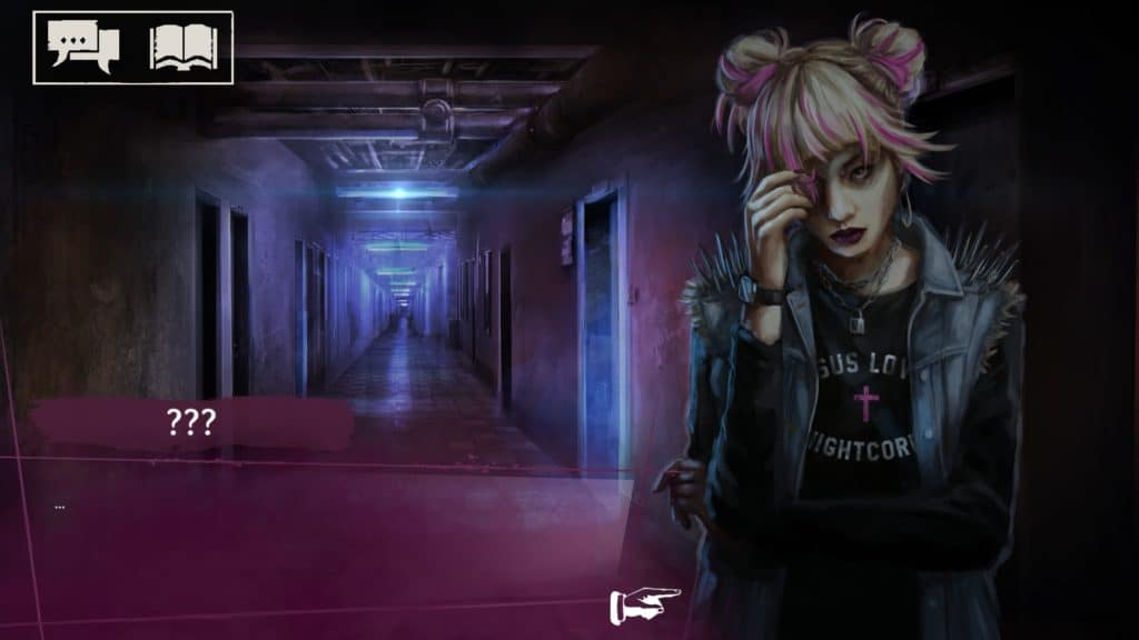 Una ragazza vestita in modo emo e con capelli bianchi e rosa guarda la protagonista in un corridoio buio di un edificio