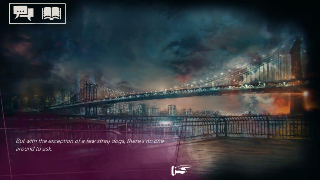 Una vista di un ponte di New York, con i soliti colori scuri di Vampire: The Masquerade