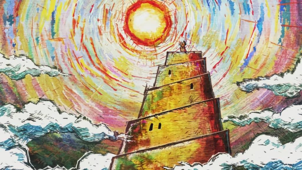 Una rappresentazione disegnata della cima della torre di dio