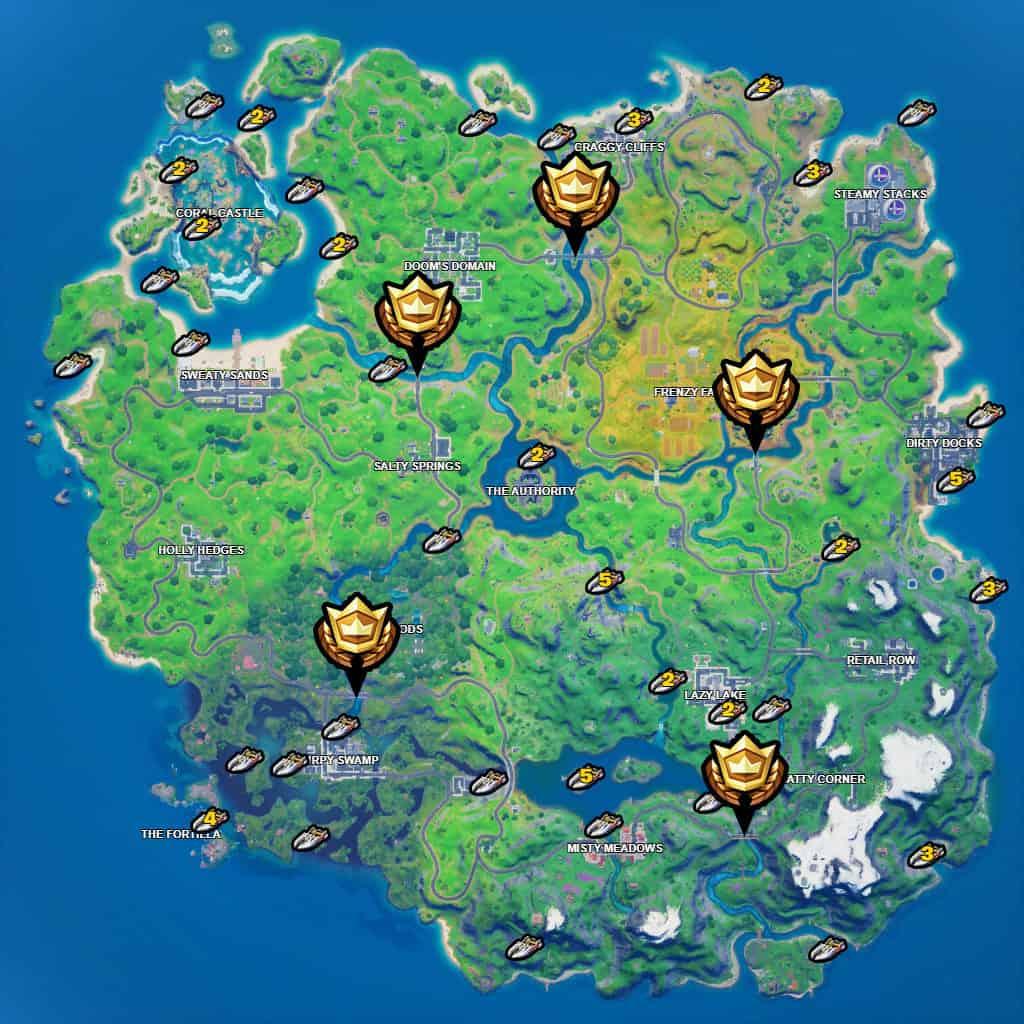 Mappa con le icone dorate