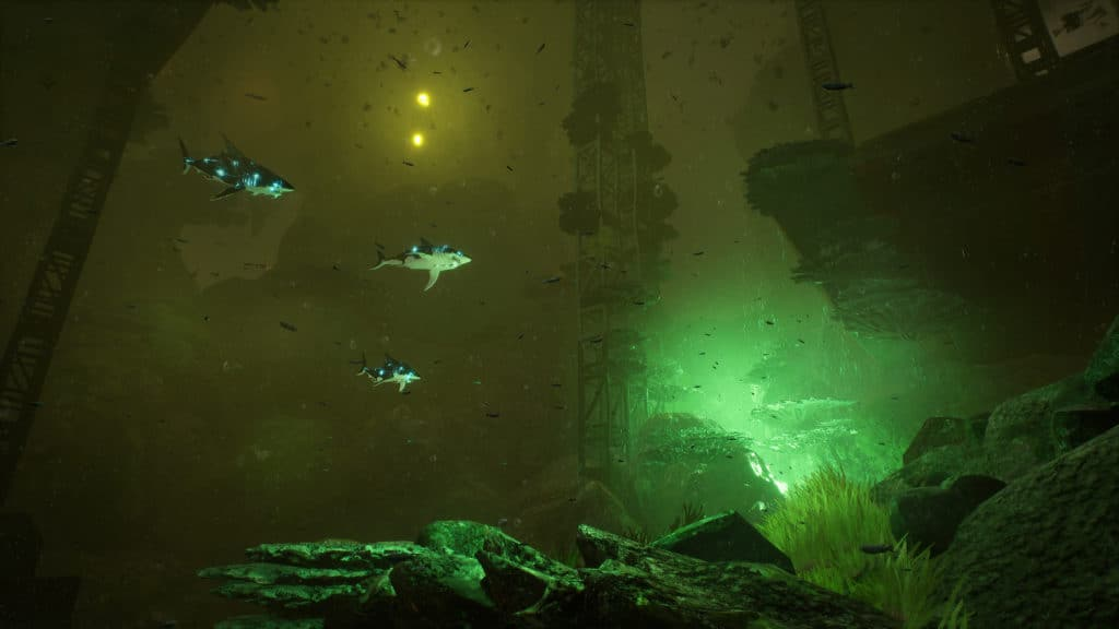 squali elettrici che nuotano in mezzo a delle rovine