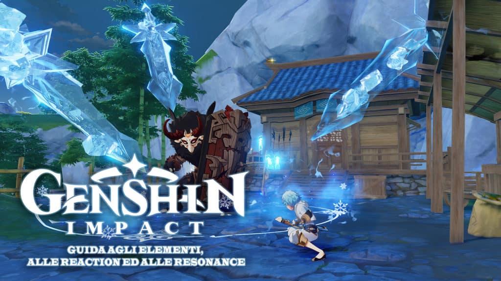 Un personaggio di Genshin Impact colpisce un nemico con tante lance di ghiaccio