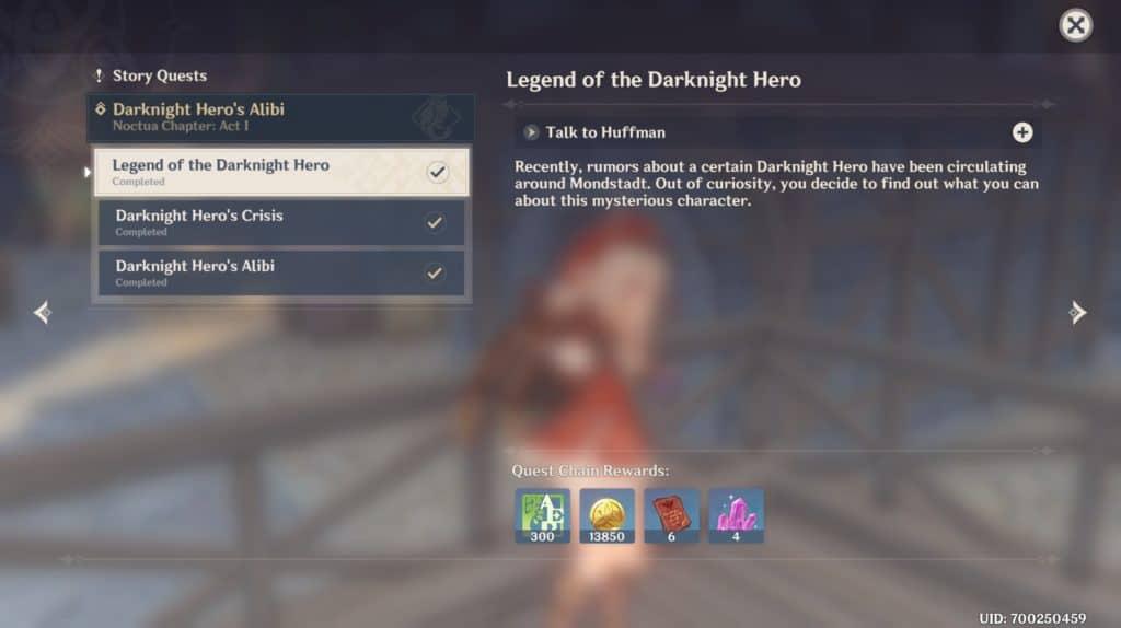 Schermata della missione Legend of the Darknight Hero