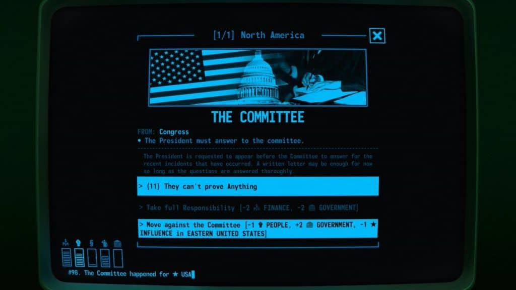 Una schermata con scelte multiple di Terminal Conflict