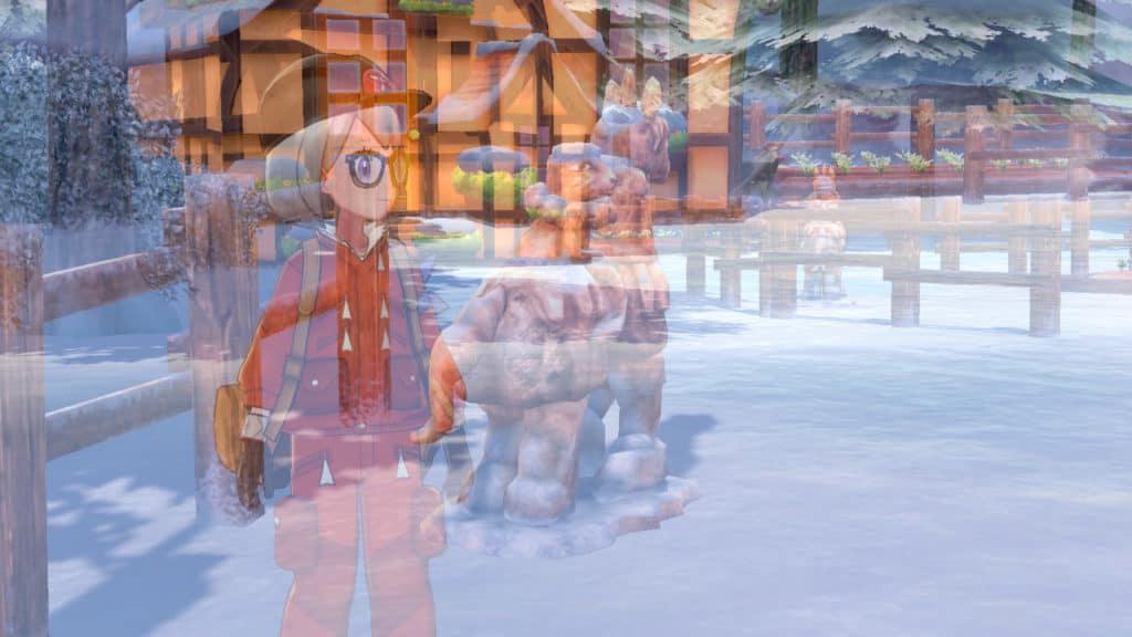 Personaggio di Pokémon Spada e Scudo e statua di Calyrex mentre scompaiono
