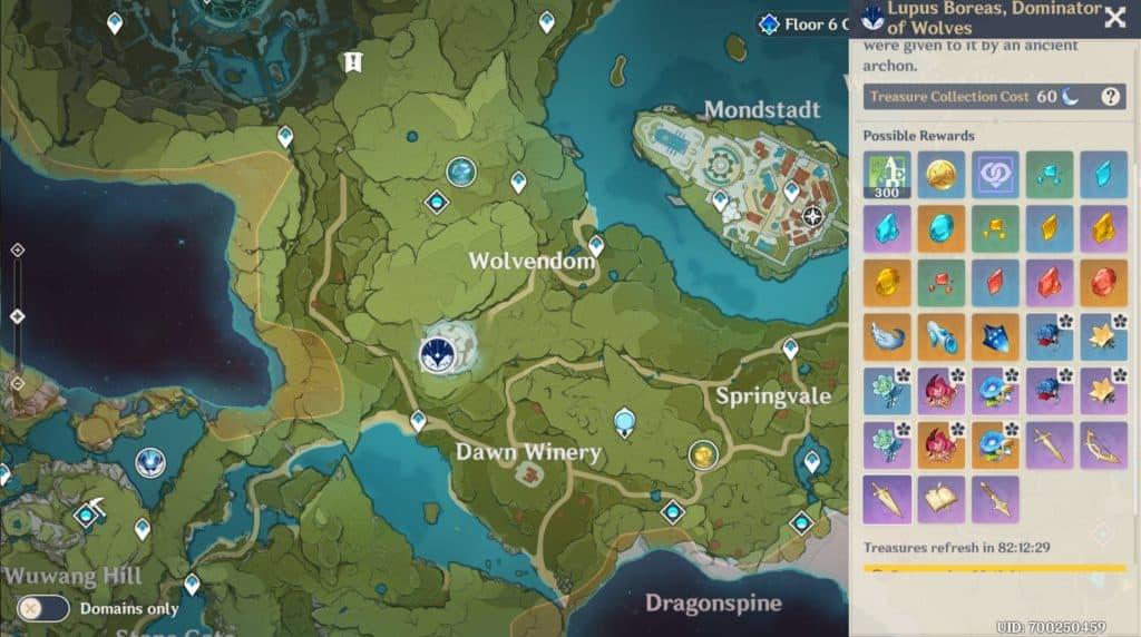 Il Wolvendom nella mappa di Genshin Impact