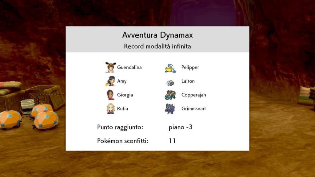 Schermata dei Record dell'Avventura Dynamax Infinita