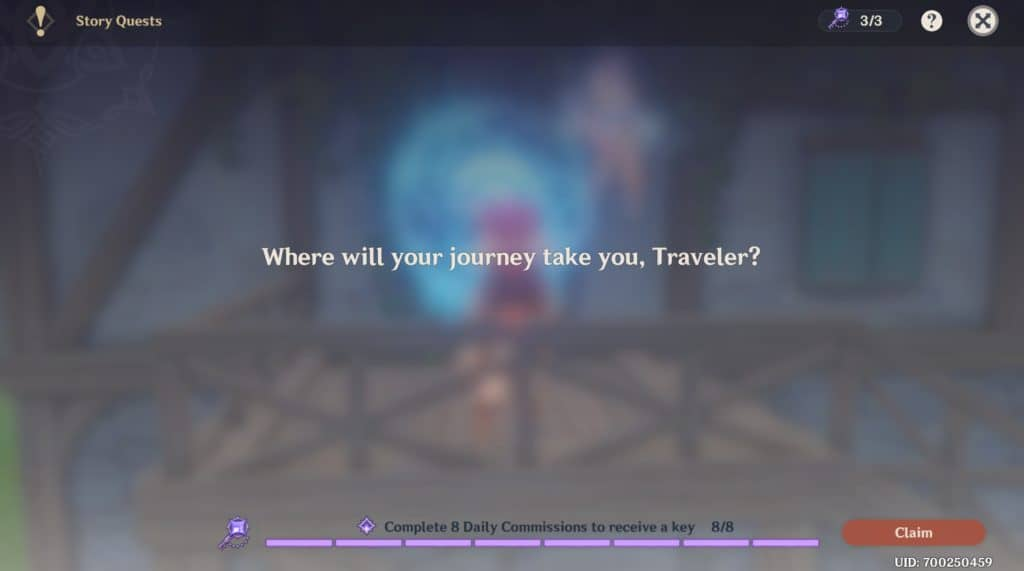 Schermata del menu della Story Mode di Genshin Impact