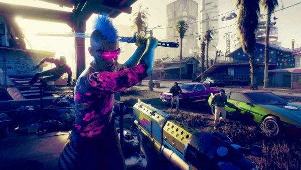 Degli uomini di una gang di Cyberpunk 2077 attaccano il protagonista V