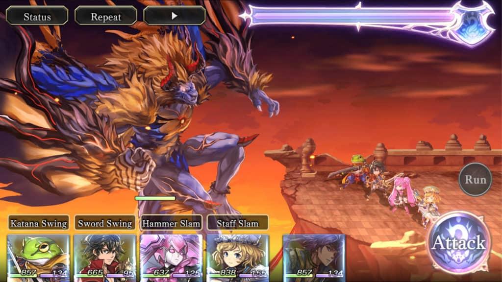 Un combattimento in cui il party del giocatore combatte contro un boss in un titolo gacha