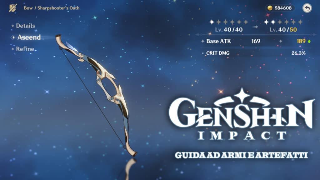 Schermata di un arco di Genshin Impact