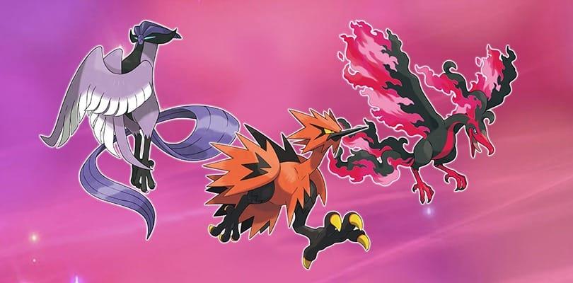 Un'immagine promozionale dei tre uccelli leggendari di Galar, Moltres, Zapdos e Articuno di Galar