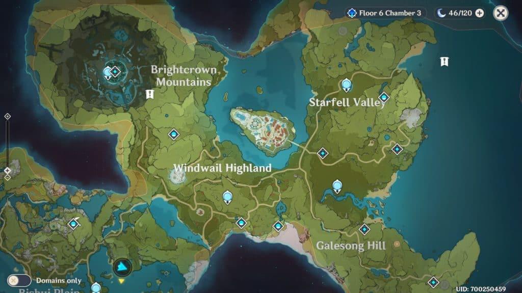 Un pezzo della mappa del mondo di gioco di Genshin Impact