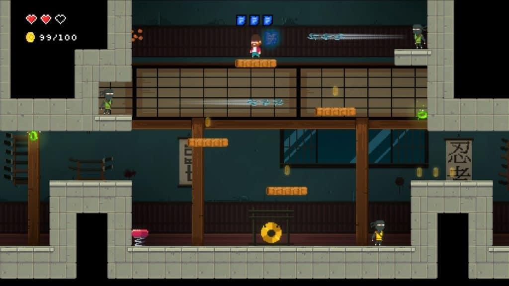 Platform giocatore contro dei ninja in un dojo