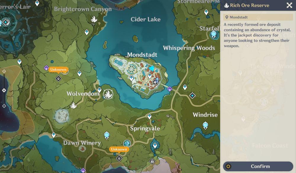 Mappa dei punti di estrazione in Genshin Impact