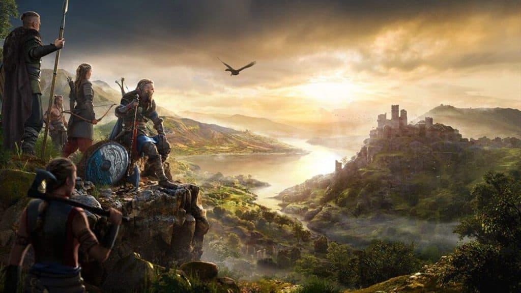 grande scorcio di assassin's creed valhalla con valli verdi, un fiume e un castello
