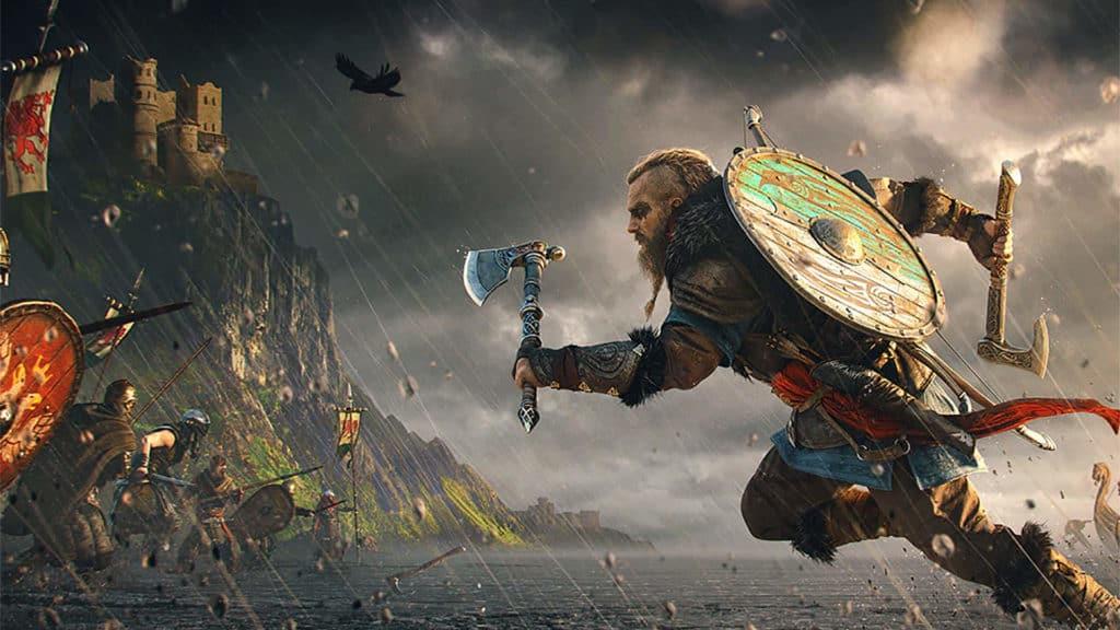 l'eroe di assassin's creed valhalla nella furia della battaglia
