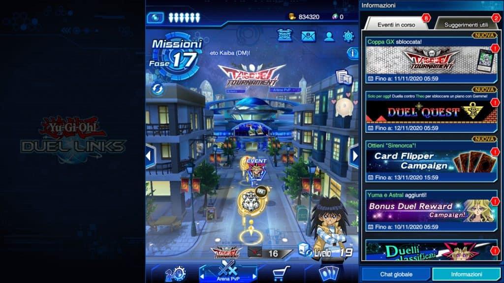 Un'immagine della piazza principale del mondo di Yu-Gi-Oh! in Duel Links