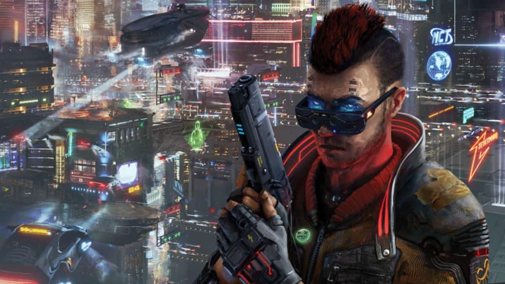 Cyberpunk Red tipo con cresta rossa su sfondo città futuristica