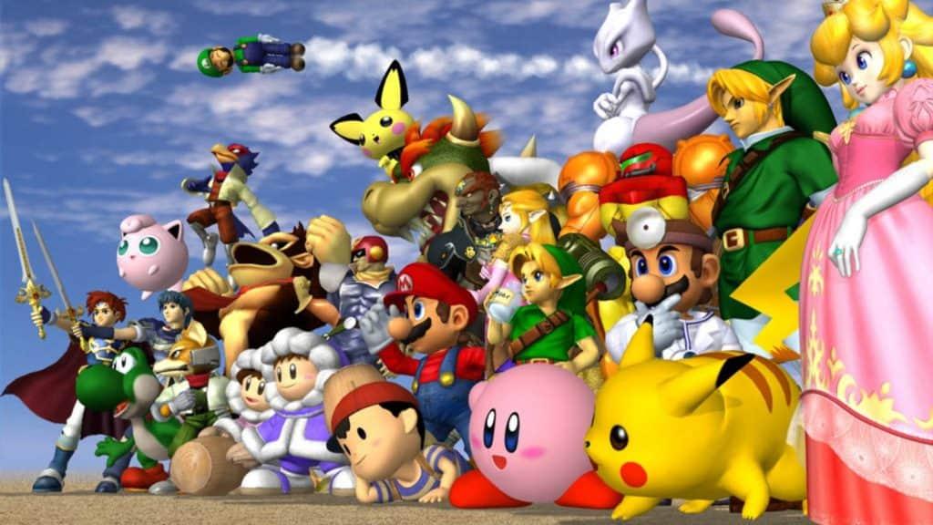 Iconica schermata con tutti i personaggi di Super Smash Bros. Melee