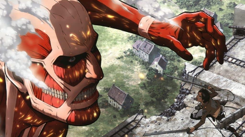 Eren si lancia all'attacco del gigante Colossale