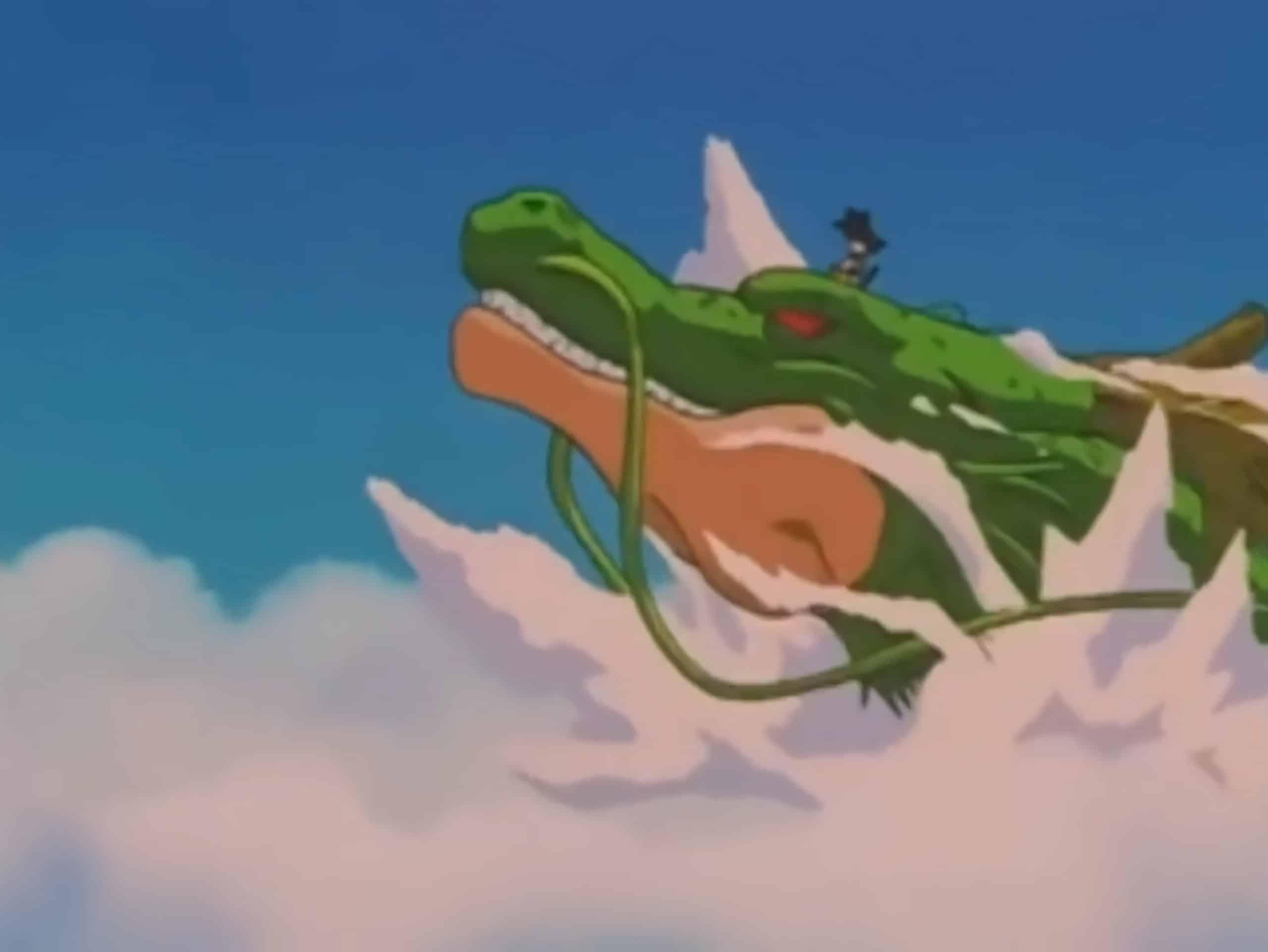 Goku bambino di GT sopra il Drago Shenron