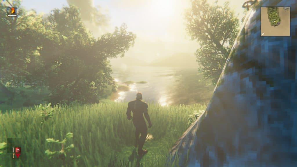 Valheilm, il giocatore osserva uno specchio d'acqua