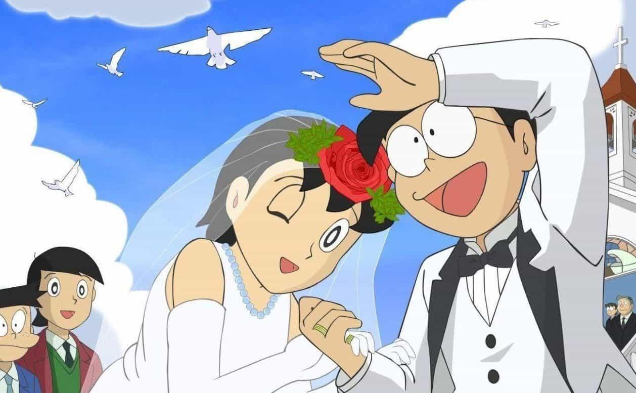 Immagine del matrimonio tra Shizuka e Nobita