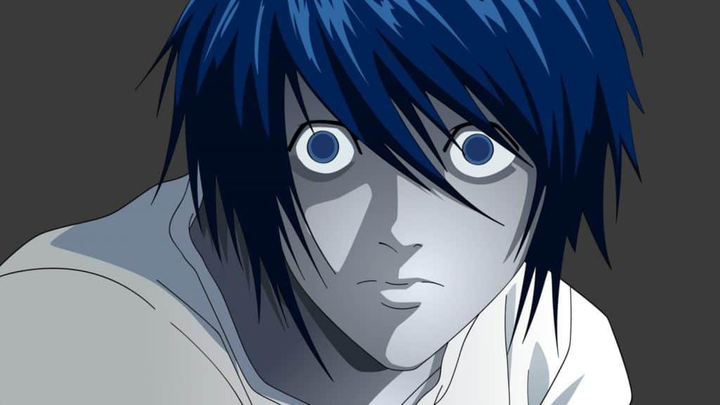 Primo piano di L, tratto dall'anime di Death Note