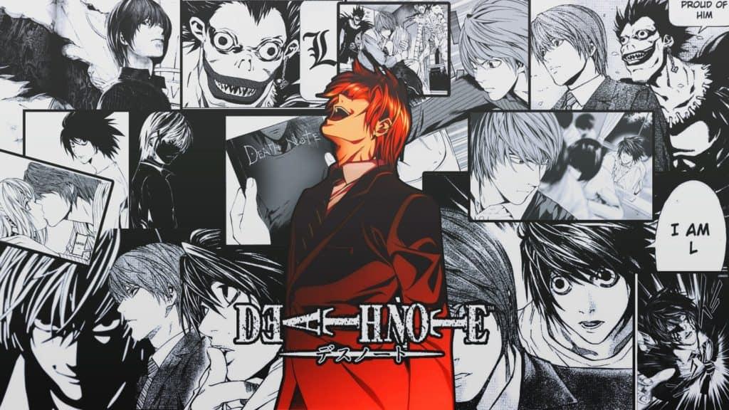 Tavole del manga di Death Note con Light Yagami in primo piano