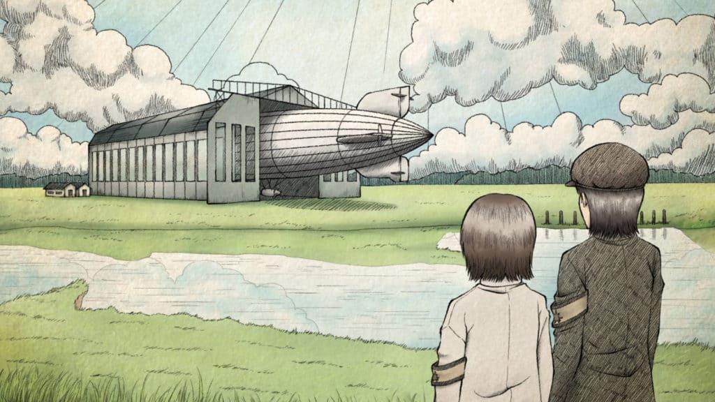 Grisha e la sorella vedono in lontanza un dirigibile